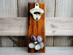 CapCollector Dalmata wood magnetic bottle opener will catch and hold 30-40 bottle caps.