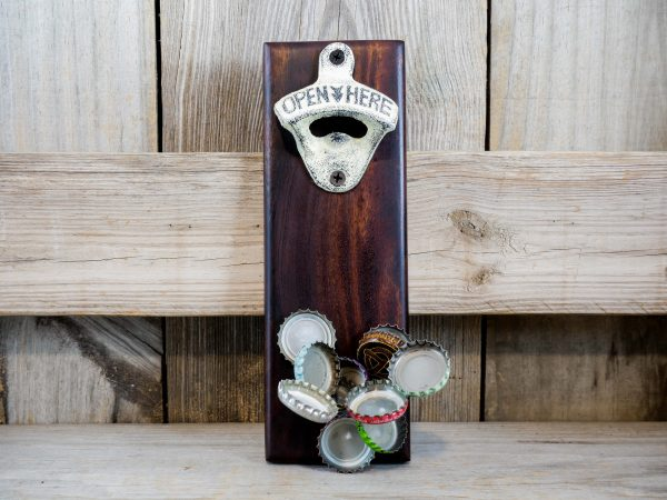 CapCollector mahogany wood magnetic bottle opener will catch and hold 30-40 bottle caps.