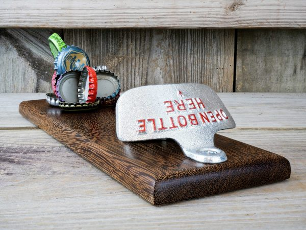 CapCollector Wacapou wood magnetic bottle opener will catch and hold 30-40 bottle caps.