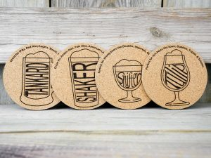 Beer Glasses laser engraved into cork coasters