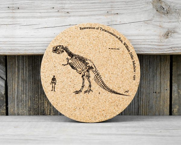 Cork coasters featuring original drawing of T-Rex skeleton