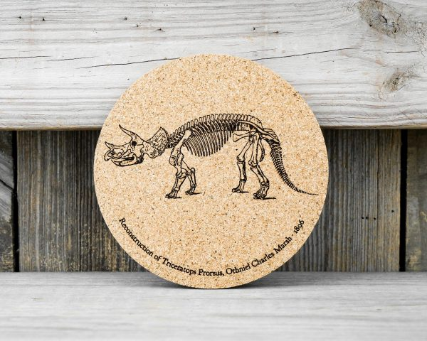 Cork coaster featuring original drawings of Triceratops skeletons