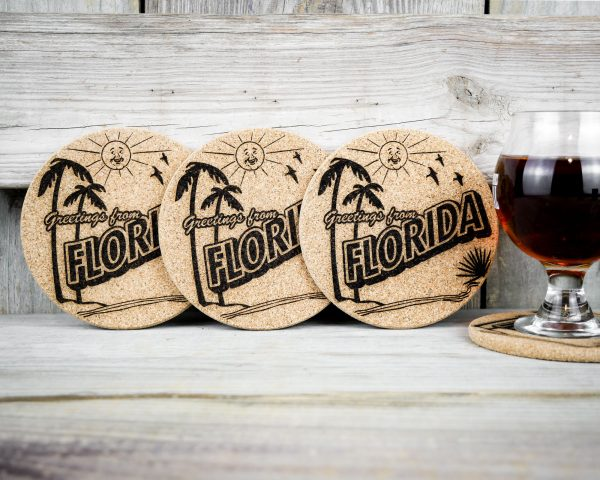 Cork coasters that replicate old postcards - Greetings from Florida