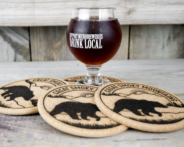 Cork coasters featuring The Great Smoky Mountains