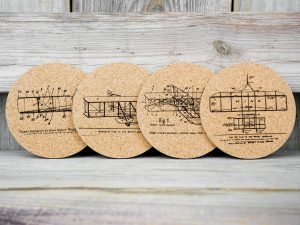 Cork coasters featuring original Wright Brother patents