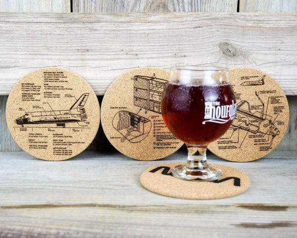 Cork coasters featuring technical drawings from NASA's Space Shuttle program - set of 4