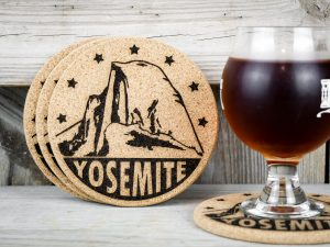 Cork coasters featuring Yosemite National Park