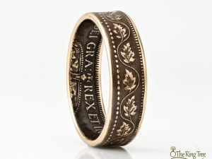 Canada coin ring made from a bronze large cent coin