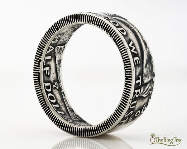 Franklin half dollar coin ring with heads facing out