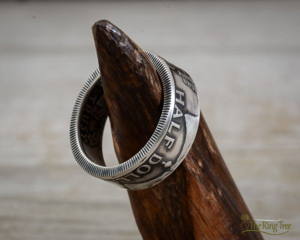 Franklin half dollar coin ring with tails facing out