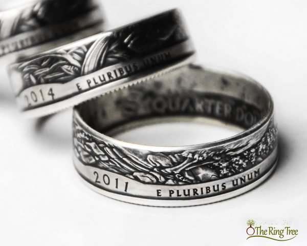 Silver National Park quarter rings with patina finish