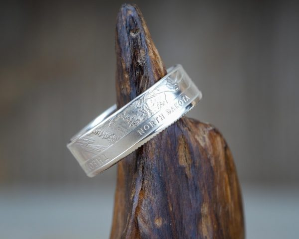 Ring made from a silver Teddy Roosevelt quarter