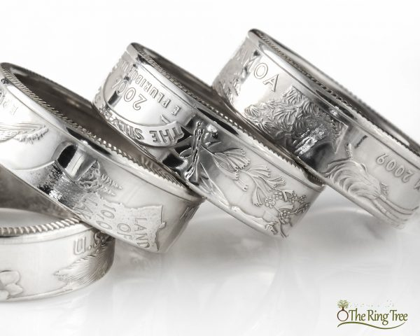 Silver state quarter rings with clean finish