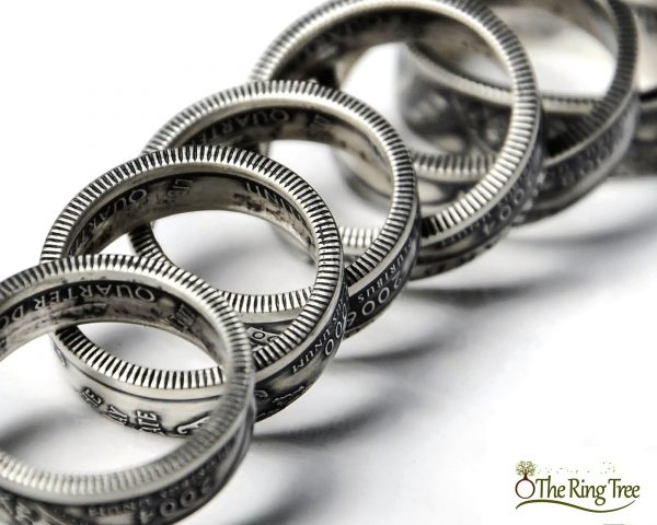 Silver state quarter rings with patina