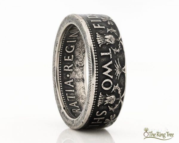 Coin ring made from a UK 2 Shilling