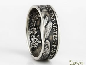 Walking Liberty half dollar coin ring with tails side facing out